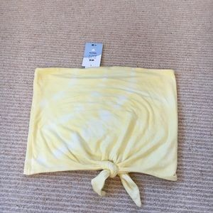 yellow tie strapless crop top